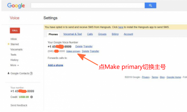 你可以在两个号可以随时切换为主号,点 Make primary 切换主号即可: